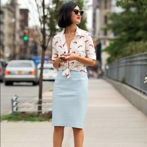 Zara Baby Blue Pencil Vegan Leather Skirt L
